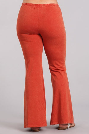 Mineral Wash Bell Bottom Pants in Rust