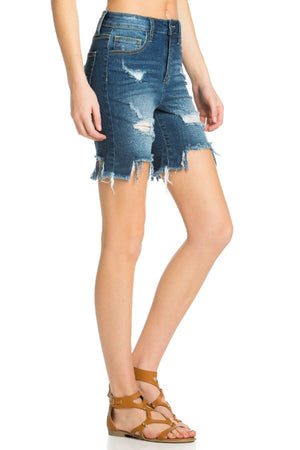 Distressed Uneven Fray Bermuda Shorts