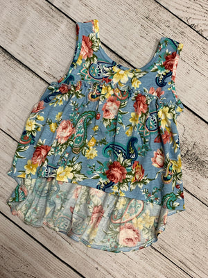 Floral High Low Ruffled Tank in Blue