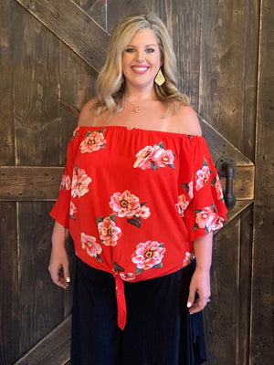 Floral Off Shoulder Top with Front Tie