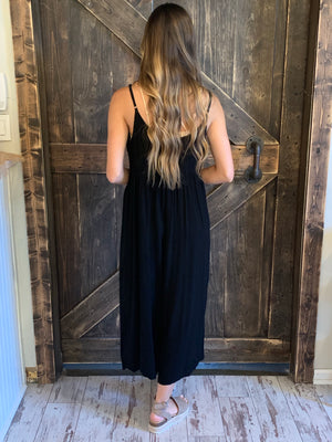 Button Up Wide Leg Cropped Jumpsuit