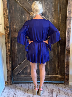Bell Sleeve Romper with Ruffled Hem