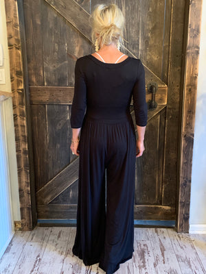 3/4 Length Sleeve Wide Leg Jumpsuit in Black