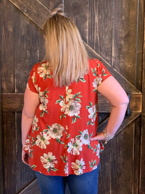 Floral Caged Neck Top