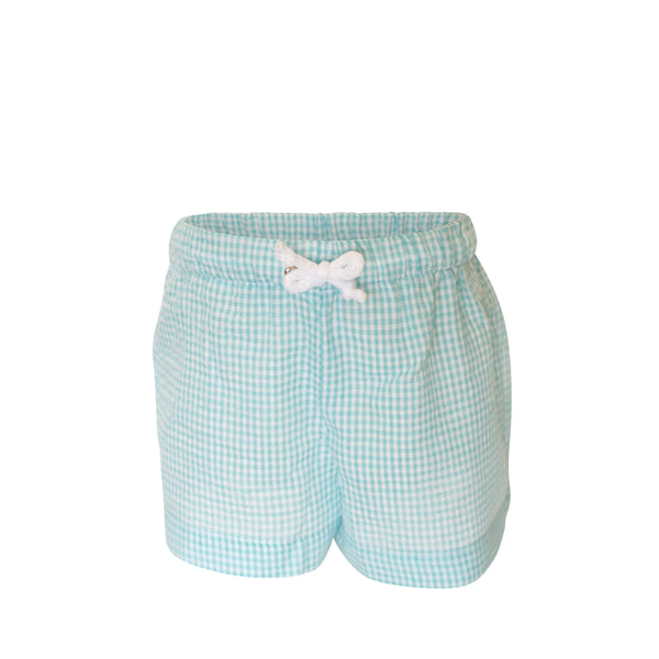 Swimsuit - Boy- Aqua Seersucker Gingham Fabric