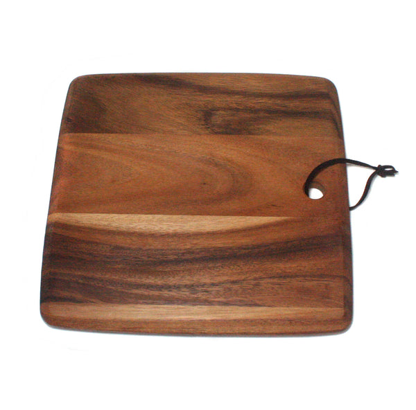 Richly Grained, Wooden Cheese Board, With Leather Strap,twelve inch square