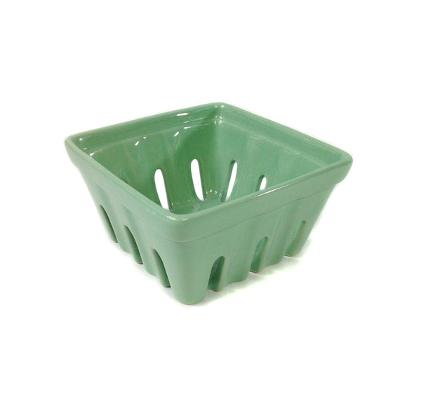 Mint, Ceramic Berry Basket, three by six by six inches