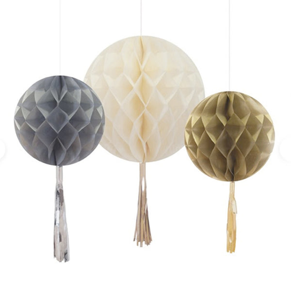 Metallic, Honeycomb Hanging Baubles with Tassels