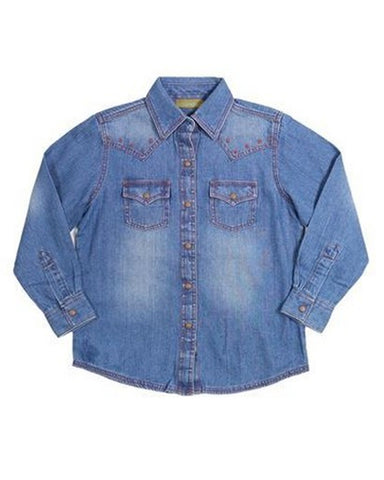 Girls Premium Patch Denim Western Shirt