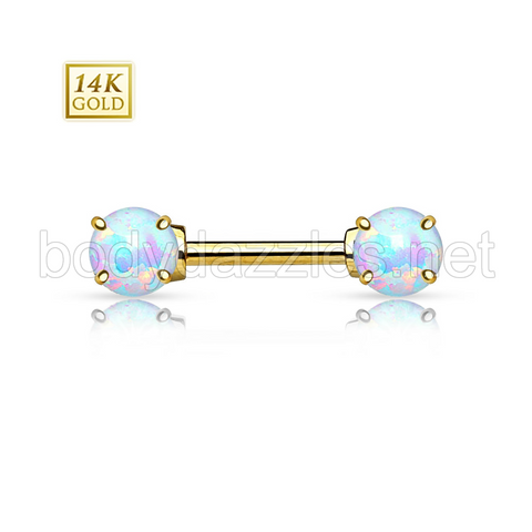 Double Prong Set Opal Stone 14K Gold Nipple Bar Nipple Ring 14ga Body Jewelry