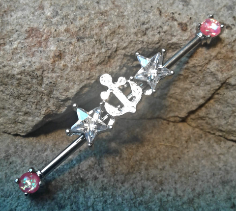 Anchor Industrial Barbell with Stars and White Pink Surgical Stainless Steel 14ga Body Jewelry