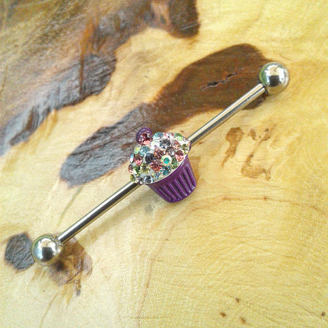 Cute Cupcake Industrial Barbell Body Piercing Jewelry Scaffold Bar