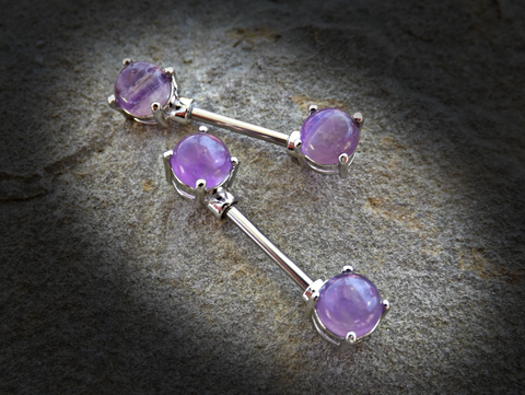 Amethyst Semi Precious Stone Nipple Barbell Prong Surgical Steel Nipple Bar Rings 14ga - BodyDazzle - 1
