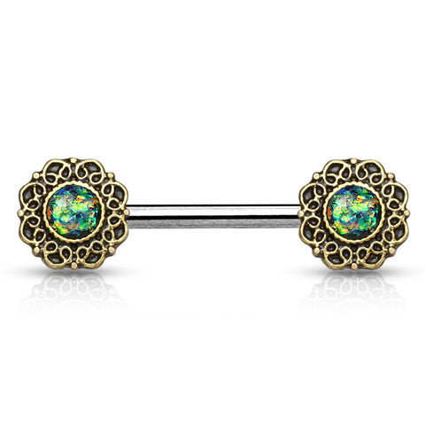 Green Opal Glitter Tribal Heart Filigree Nipple Ring Single  Surgical Steel Nipple Barbells 14ga - BodyDazzle