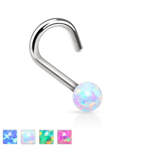 "Nose Ring Fire Opal Nose Jewelry 20ga 1/4"" Body Jewelry Piercing Jewelry - BodyDazzle - 1"