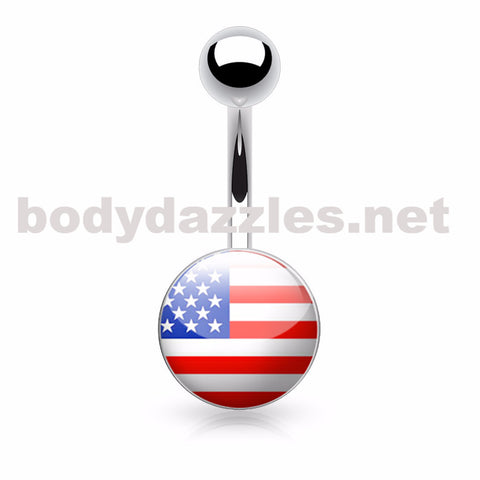 American Flag Logo Inlaid and Clear Epoxy Covered 316L Surgical Steel Belly Button Rings - BodyDazzles
