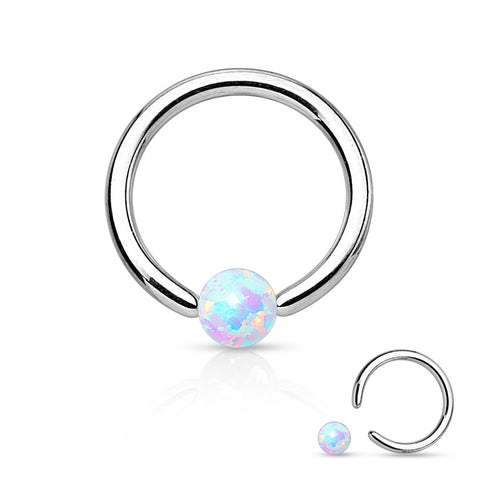 White Fire Opal Captive Hoop Daith 16ga 316L Surgical Stainless Steel Ear Jewelry Tragus Cartilage Helix Body Jewelry - BodyDazzle - 1