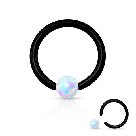 Fire Opal White Captive Hoop Black Cartilage Daith 16ga Tragus Body Jewelry Helix Piercing Jewelry 316L Surgical Steel - BodyDazzle