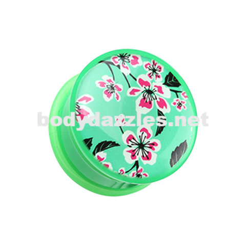 Pair of Hibiscus Green Flower Single Flared Ear Gauge Plug Body Jewelry - BodyDazzle
