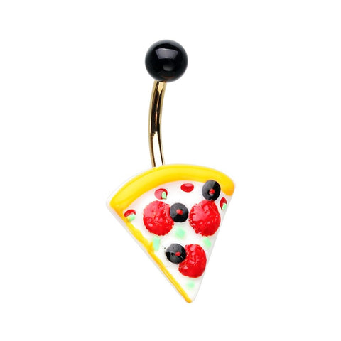Pizza Belly Button Navel Ring 14ga Surgical Stainless Steel
