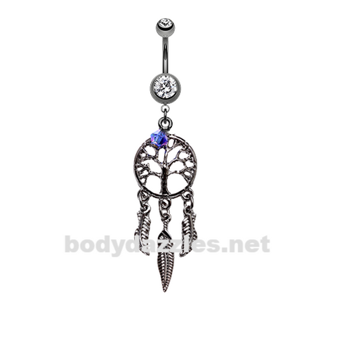 Hematite Tree of Life Dreamcatcher Belly Button Ring Stainless Steel Body Jewelry - BodyDazzle