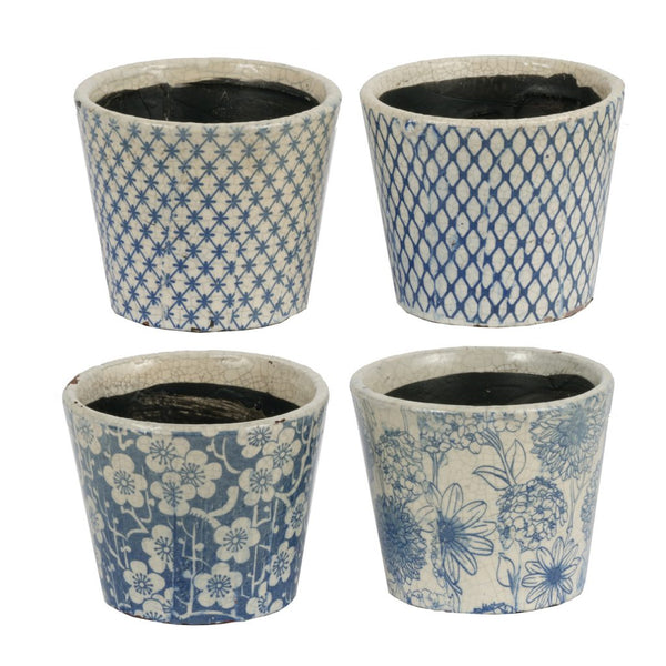 Distressed Blue Planter, Set of 4