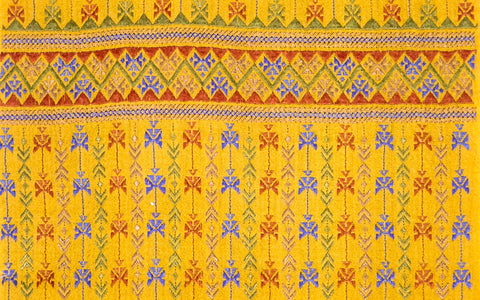 Hand Embroidered Narrow Scarf - Mustard