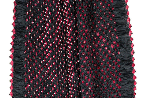 Silk Bandhani Scarf - Red & Black