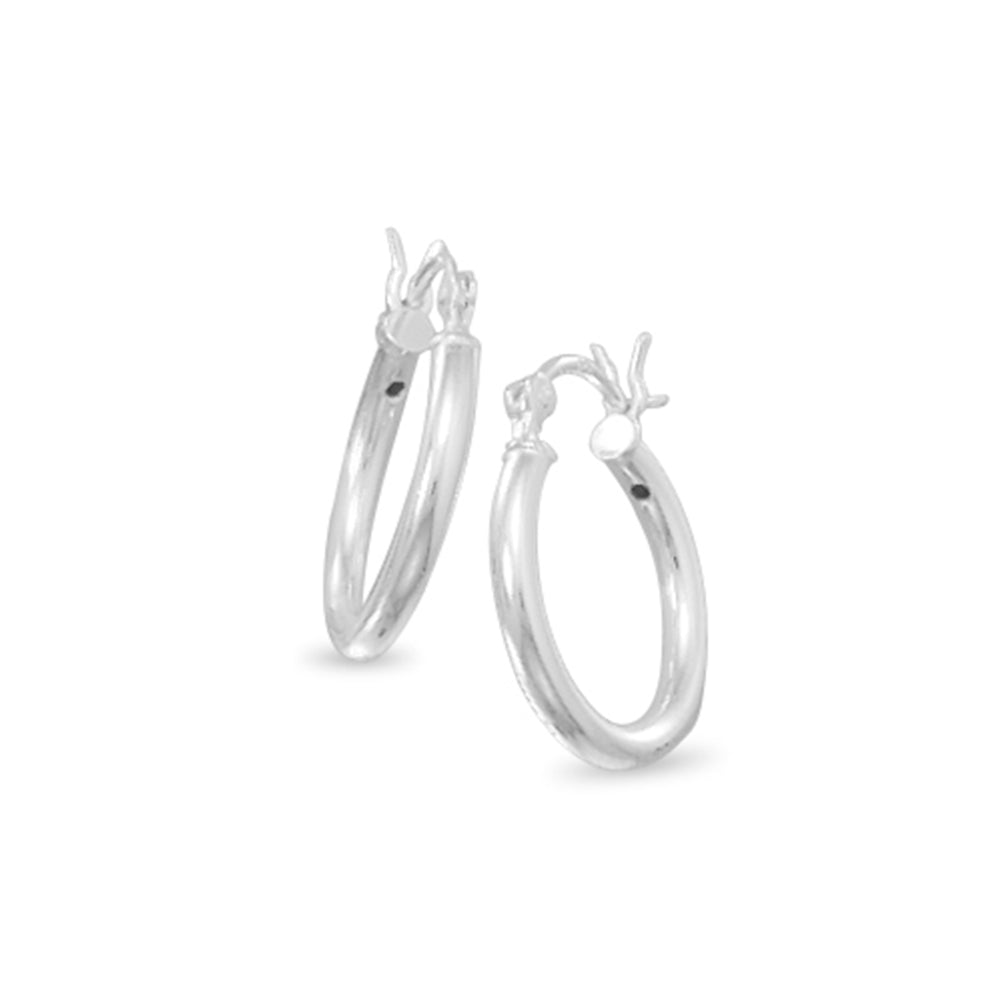 Extra Small 2mm x 16mm Round Tube Sterling Silver Hoop Earrings