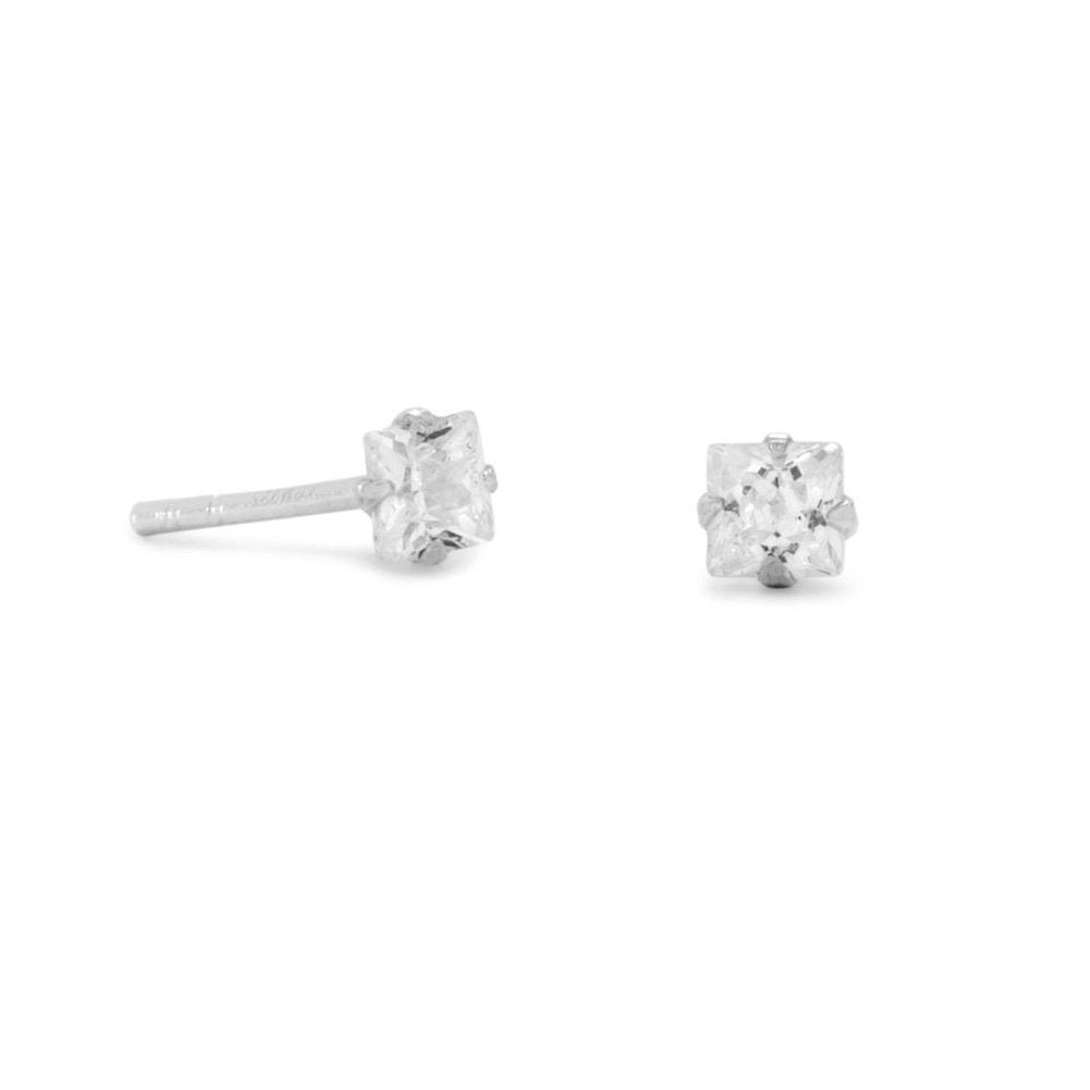 Small 3mm Square Cubic Zirconia CZ Stud Earrings Mens Sterling Silver