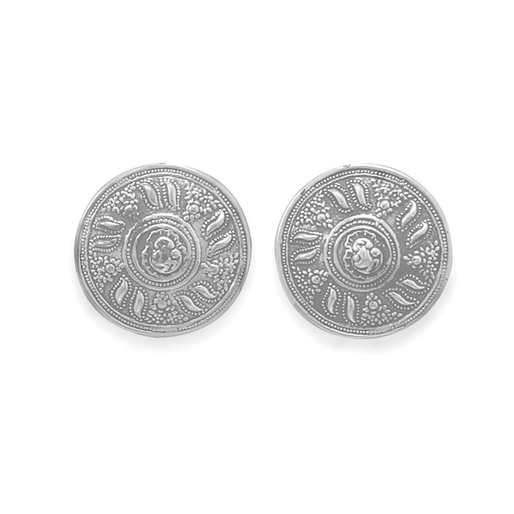 Clip-On Earrings Round Button Antique Vintage Sterling Silver