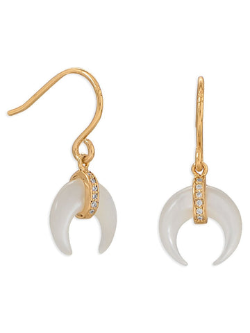 Crescent Moon Naja Mother of Pearl Earrings Gold-plated with Cubic Zirconia
