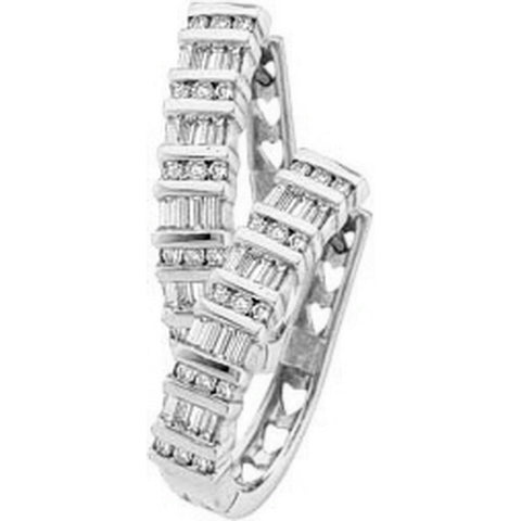 Round and Baguette Diamond Hoop Earrings 10k White Gold 1/2 CTW 34 Diamonds