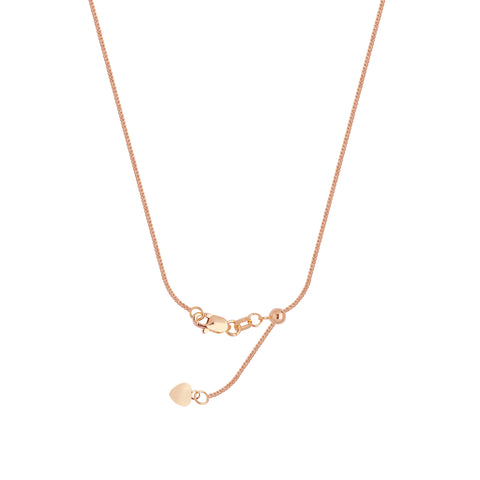 14k Rose Gold Adjustable 025 Square Wheat Chain with Slider Adjust Up to 22 inches