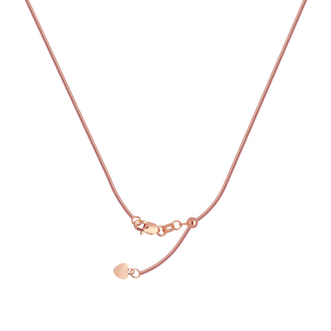 14k Rose Gold 035 Adjustable Snake Chain with Slider Adjust Up to 22 inches