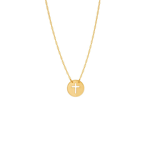 14k Gold Cut-out Cross Disk Necklace on Rope Chain Adjustable Length - So You