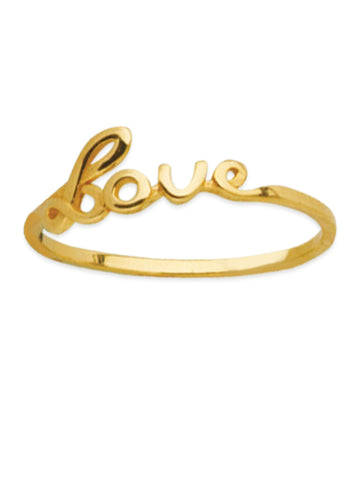 14k Yellow Gold Script Word Love Ring
