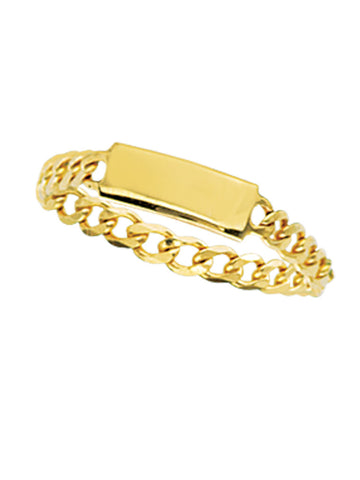 14k Yellow Gold ID Plate and Chain Ring