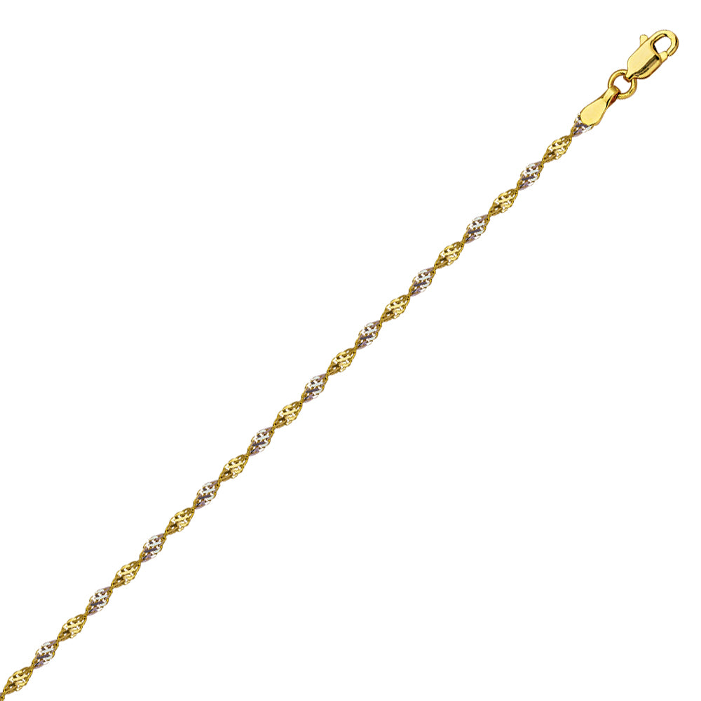 14k Two-tone White and Yellow Gold Dorica Twist Chain 020 Gauge 1.35mm Wide