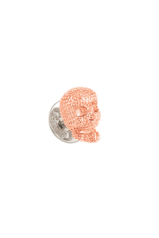 Rose Gold Textured Skull Lapel Pin