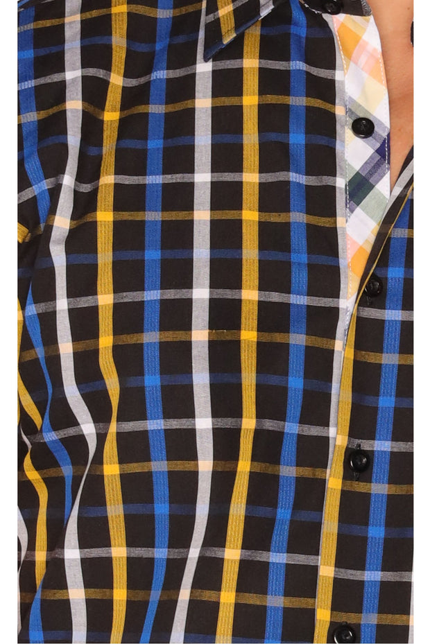 Sambuca Short Sleeve Navy/Gold Plaid