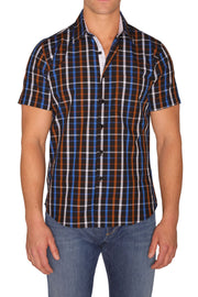 Sambuca Short Sleeve Navy/Brown Plaid