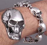 HUGE HEAVY ELEGANT SKULL HEADS 925 STERLING SOLID SILVER MENS ROCKER BIKER BRACELET