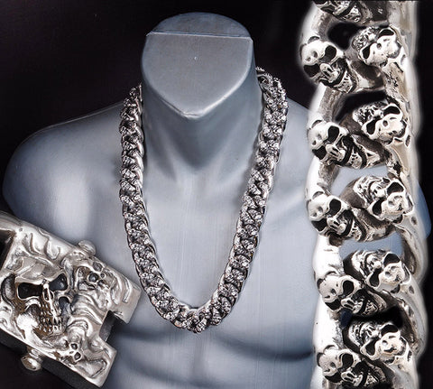 770-1120 grams!! EXTREME HUGE HEAVY MULTI SKULL CURB 925 STERLING SILVER MENS ROCKER BIKER NECKLACE CHAIN