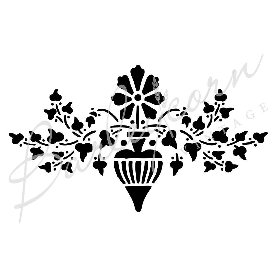 Flower Urn Stencil | Paint Me Vintage | Tauranga, New Zealand | chalk paint | chalkpaint | furniture painting | vintage paint | stencils | IOD | Iron Orchid Design | furniture transfers | workshops | where to buy stencils | stencils for sale nz | plastic stencils nz | craft stencils nz | Flower Urn Stencil