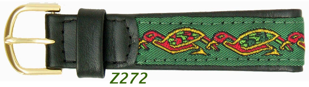 Celtic embroidered Mens black leather strap