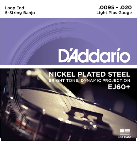 D'Addario EJ60+ Banjo Strings, 5-String, Light Plus, Nickel, 9.5-20