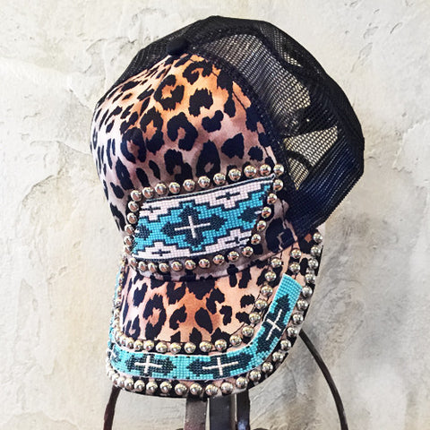 Leopard and Turquoise Cross Cap