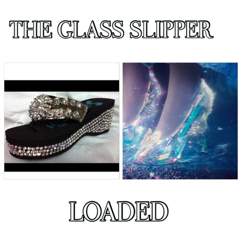Disney inpired Swarovski crystal flip flop THE GLASS SLIPPER LOADED