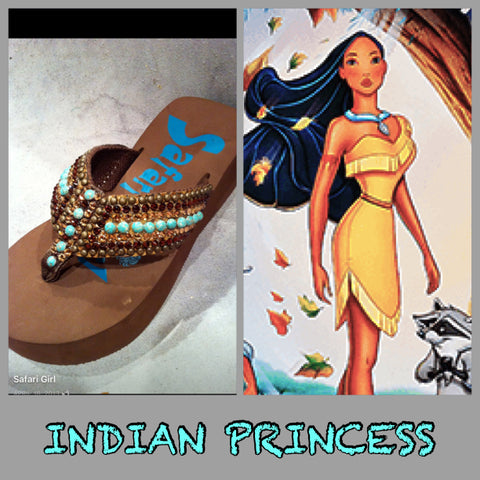 Disney inspired Swarovski crystal flip flop INDIAN PRINCESS